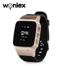 Ceas Smartwatch Pentru Adulti / Varstnici Wonlex EW100 cu Functie Telefon, Localizare GPS, Pedometru, SOS – Auriu, Cartela SIM Cadou