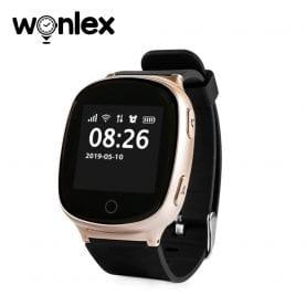 Ceas Smartwatch Pentru Adulti / Varstnici Wonlex EW100S cu Functie Telefon, Senzor puls, Localizare GPS, Pedometru – Auriu