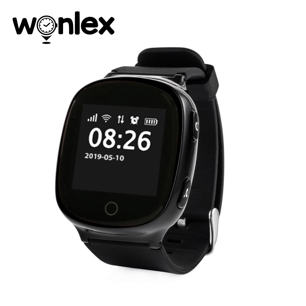 Ceas Smartwatch Pentru Adulti / Varstnici Wonlex EW100S cu Functie Telefon, Senzor puls, Localizare GPS, Pedometru – Negru imagine