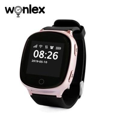Ceas Smartwatch Pentru Adulti / Varstnici Wonlex EW100S cu Functie Telefon, Senzor puls, Localizare GPS, Pedometru – Roz sidefat
