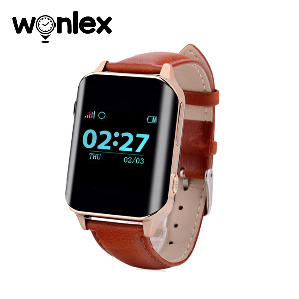 Ceas Smartwatch Pentru Adulti / Varstnici Wonlex EW200 cu Functie Telefon, Senzor puls, Localizare GPS, Pedometru – Maro, Cartela SIM Cadou imagine