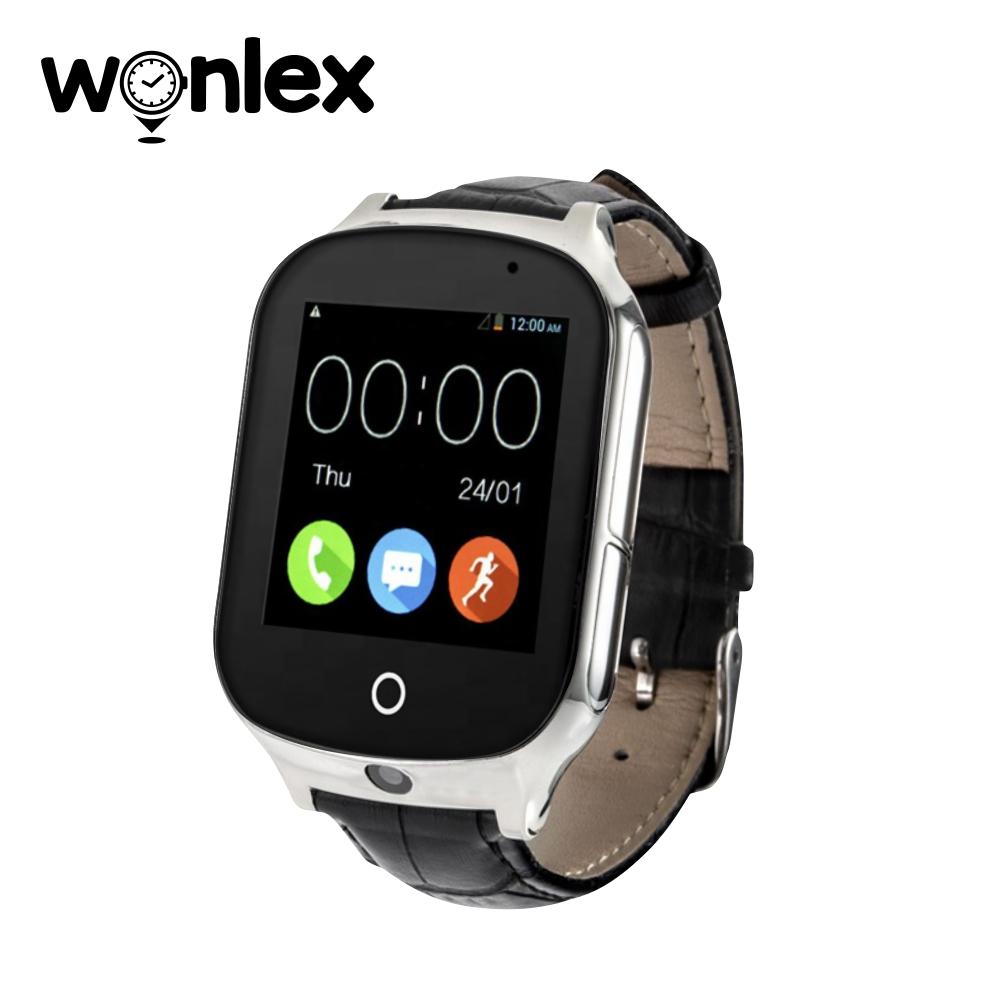 Ceas Smartwatch Wonlex GW1000S cu Functie Telefon, Localizare GPS, Camera, 3G, Pedometru, SOS, Android – Negru, Cartela SIM Cadou imagine