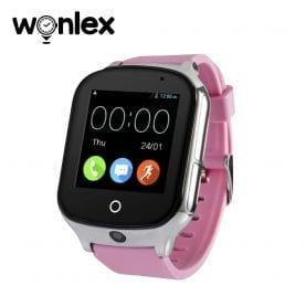 Ceas Smartwatch Wonlex GW1000S cu Functie Telefon, Localizare GPS, Camera, 3G, Pedometru, SOS, Android – Roz, Cartela SIM Cadou
