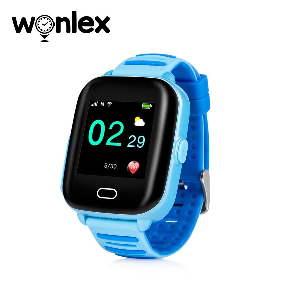 Ceas Smartwatch Pentru Copii Wonlex KT02 cu Functie Telefon, GPS, 3G, Camera, IP67, Android – Albastru, Cartela SIM Cadou imagine