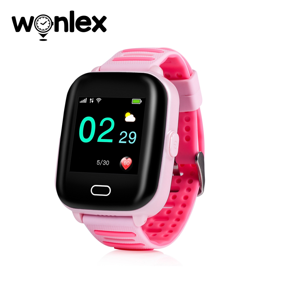 Ceas Smartwatch Pentru Copii Wonlex KT02 cu Functie Telefon, GPS, 3G, Camera, IP54, Android – Roz, Cartela SIM Cadou imagine