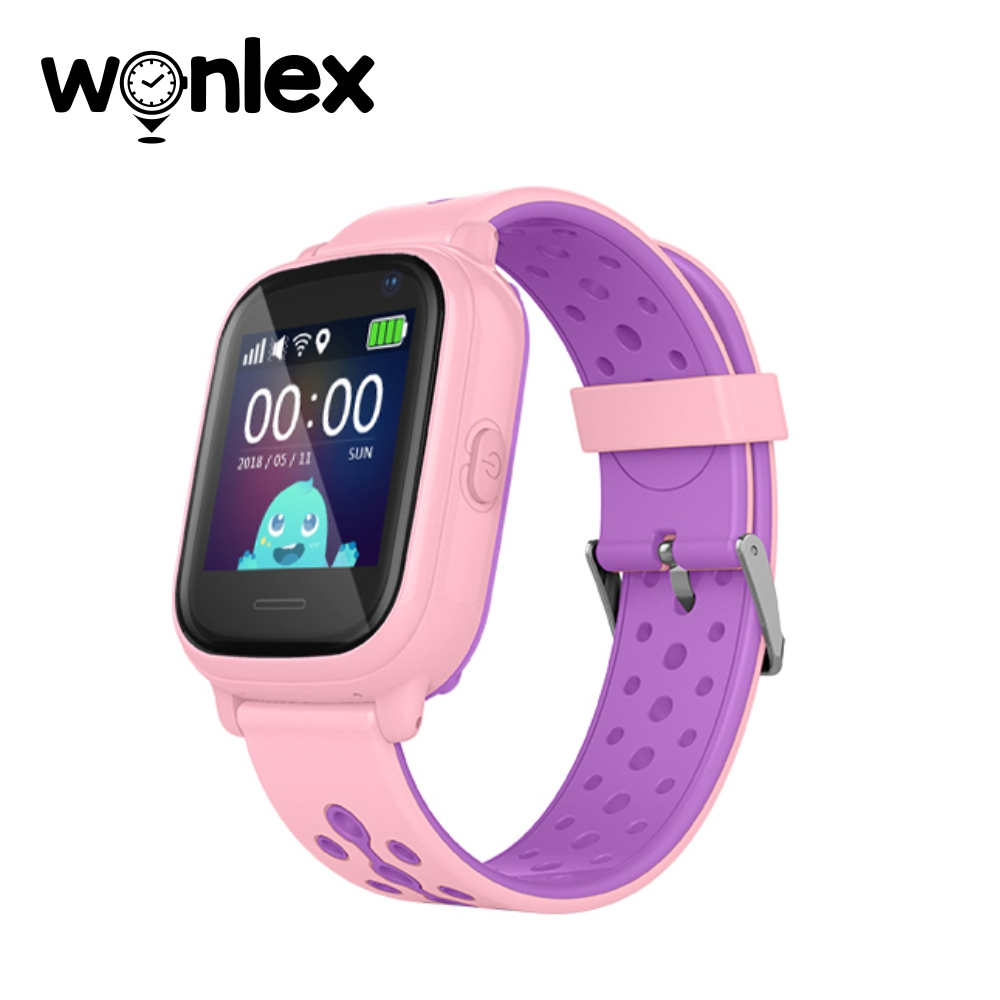 Ceas Smartwatch Pentru Copii Wonlex KT04 cu Functie Telefon, GPS, Camera, IP54 – Roz, Cartela SIM Cadou imagine