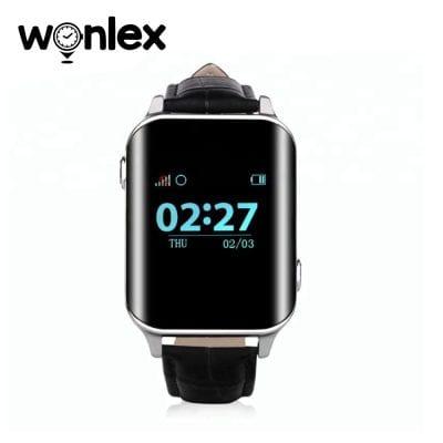 Ceas Smartwatch Pentru Adulti / Varstnici Wonlex EW200 cu Functie Telefon, Senzor puls, Localizare GPS, Pedometru – Negru, Cartela SIM Cadou