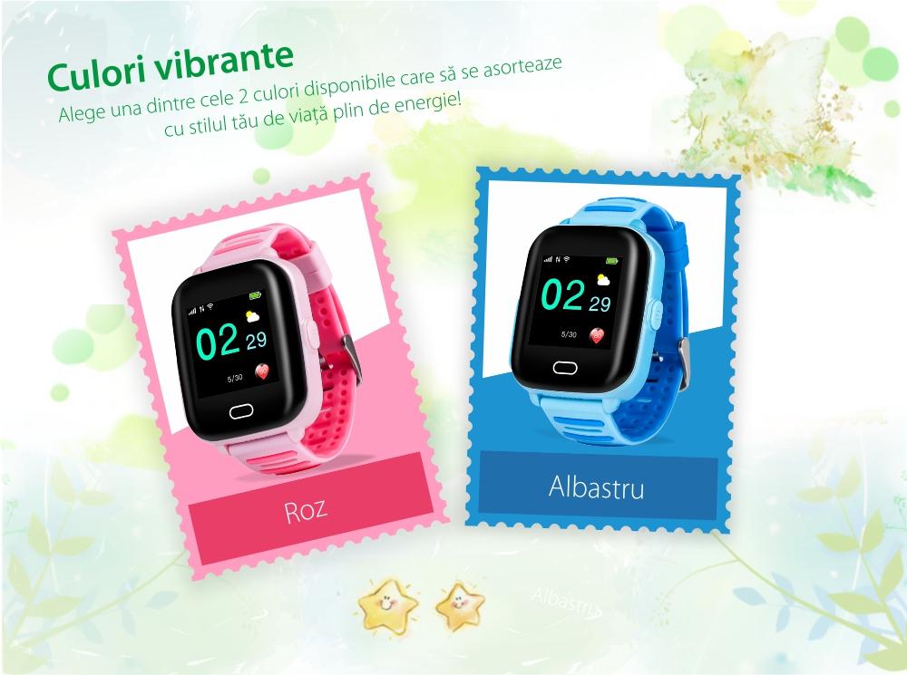 Ceas Smartwatch Pentru Copii Wonlex KT02 cu Functie Telefon, GPS, 3G, Camera, IP67, Android – Albastru, Cartela SIM Cadou