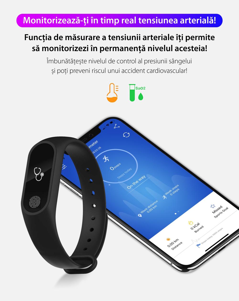 Bratara fitness inteligenta M2 cu masurarea tensiunii arteriale, Ritm cardiac, Pedometru, Bluetooth, IP67, Portocalie
