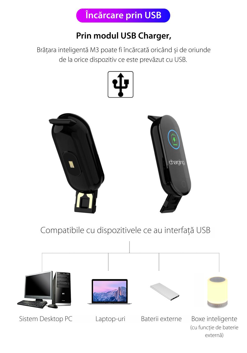 Bratara fitness inteligenta M3 cu masurarea tensiunii arteriale, Ritm cardiac, Notificari, Pedometru, Bluetooth – Albastra