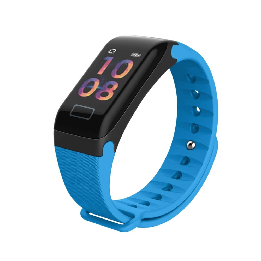 Bratara fitness inteligenta F1 cu masurarea tensiunii arteriale si a ritmului cardiac, Albastra imagine