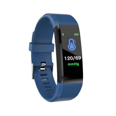 Bratara fitness inteligenta I15+ cu masurarea tensiunii arteriale si a ritmului cardiac, Albastra