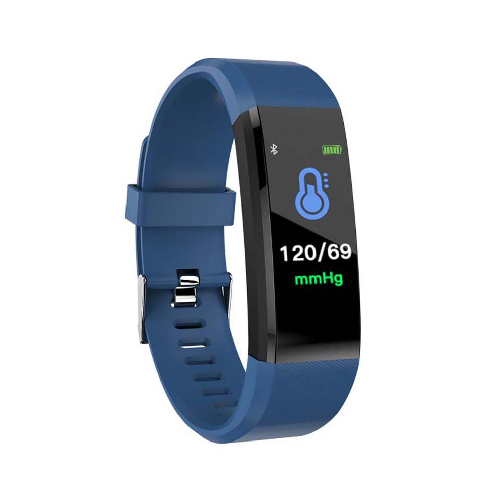 Bratara fitness inteligenta I15+ cu masurarea tensiunii arteriale si a ritmului cardiac, Albastra imagine