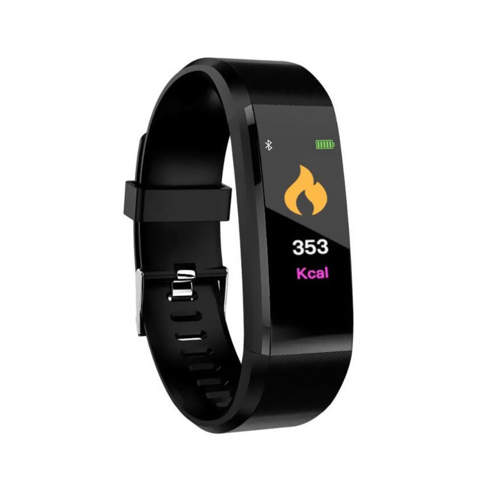 Bratara fitness inteligenta I15+ cu masurarea tensiunii arteriale si a ritmului cardiac, Neagra imagine