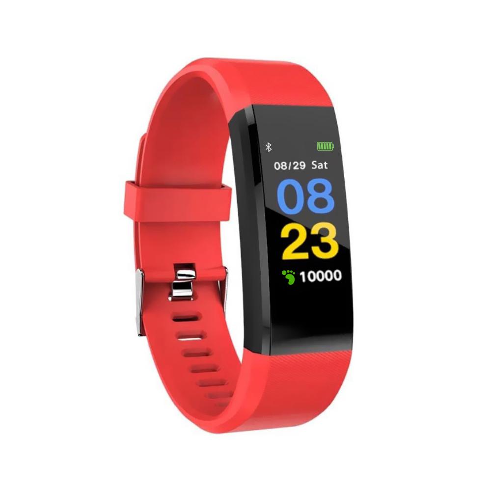 Bratara fitness inteligenta I15+ cu masurarea tensiunii arteriale si a ritmului cardiac, Rosie imagine