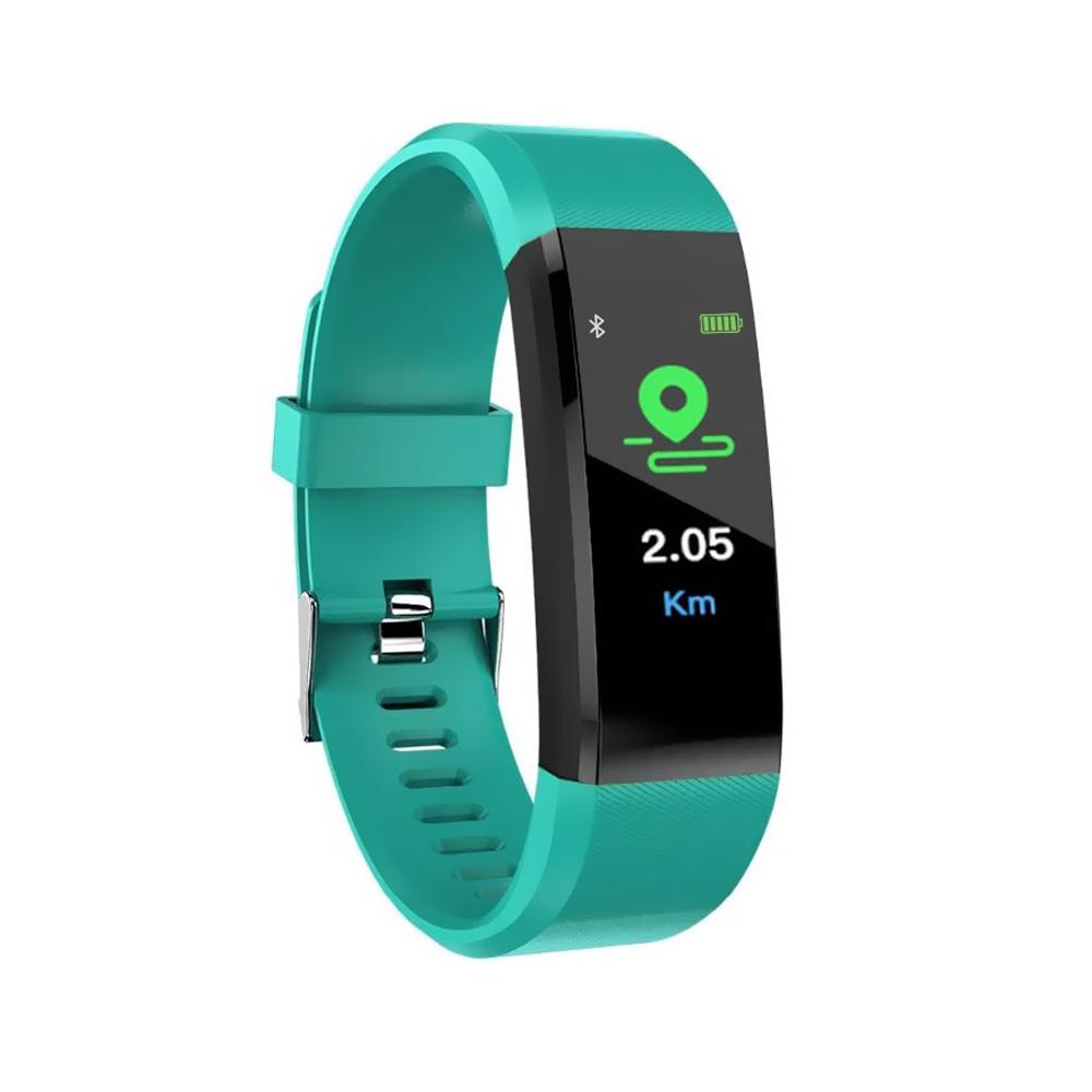 Bratara fitness inteligenta I15+ cu masurarea tensiunii arteriale si a ritmului cardiac, Verde imagine