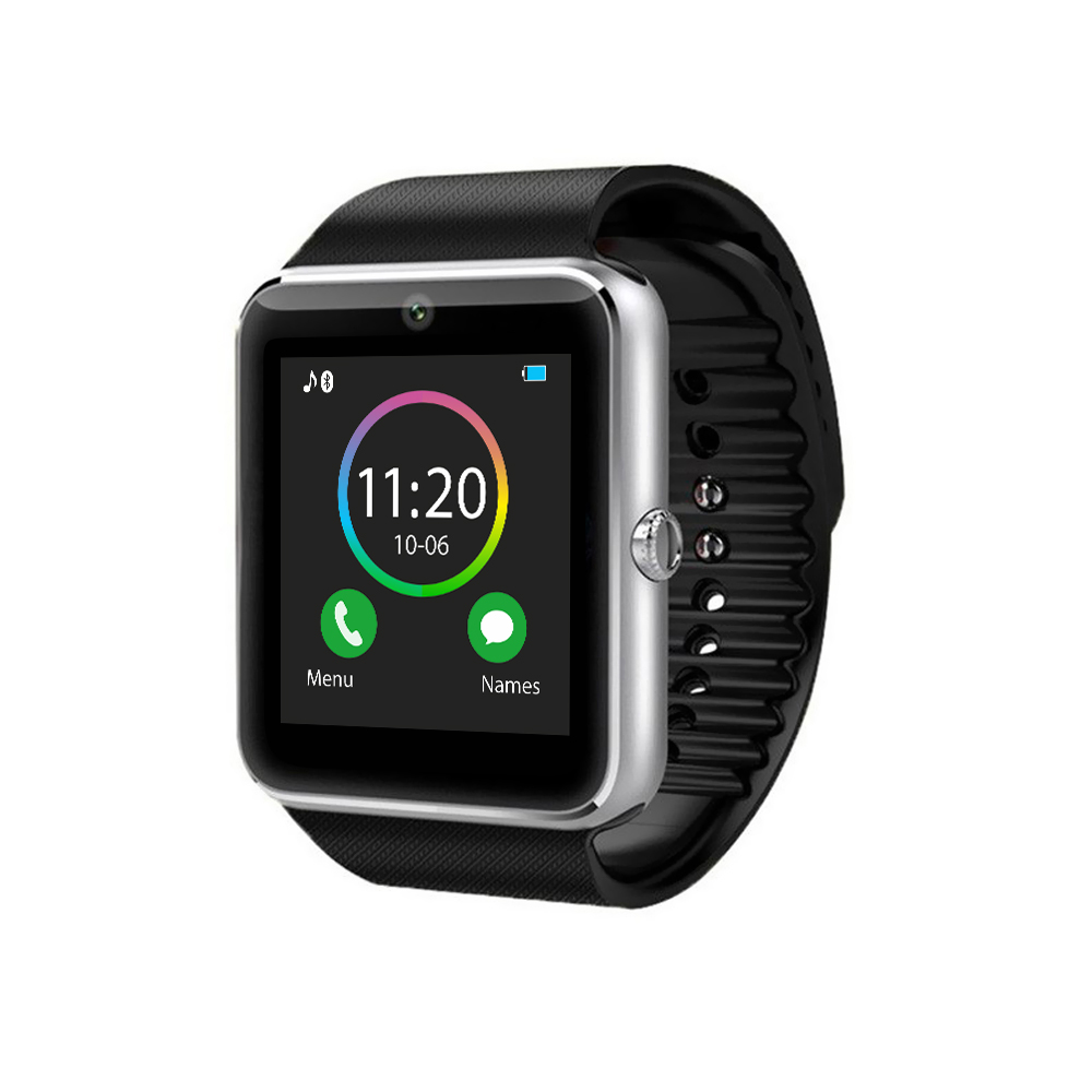 Ceas Smartwatch GT08 cu Functie Apelare, SMS, Camera, Bluetooth, Pedometru, Android, Negru-Argintiu imagine