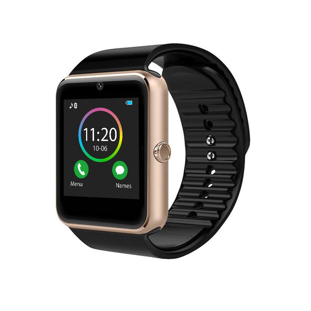 Ceas Smartwatch GT08 cu Functie Apelare, SMS, Camera, Bluetooth, Pedometru, Android, Negru-Auriu imagine