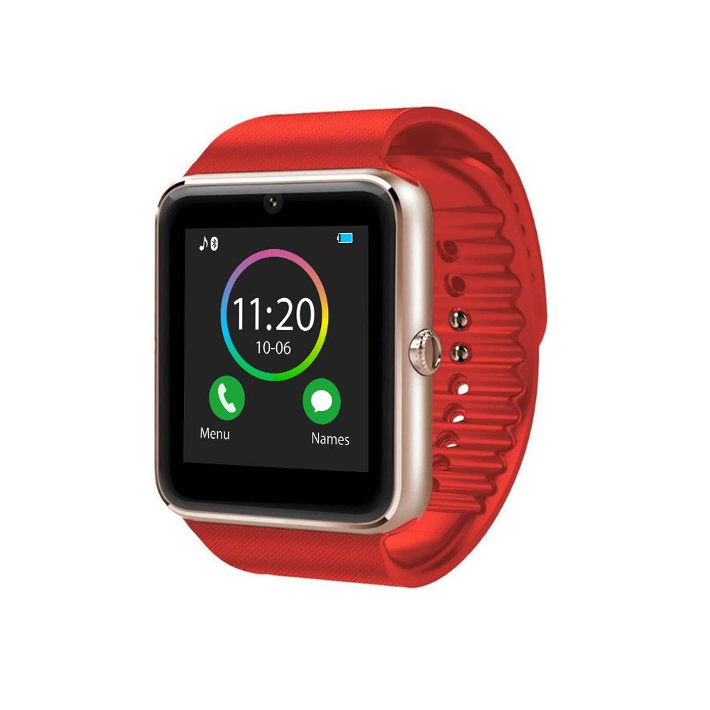 Ceas Smartwatch GT08 cu Functie Apelare, SMS, Camera, Bluetooth, Pedometru, Android, Rosu-Auriu imagine