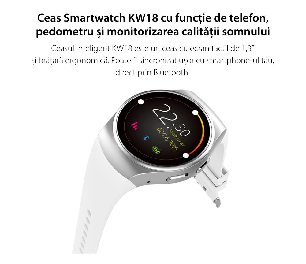 Ceas Smartwatch KW18 cu Functie Apelare, SMS, Senzor puls, Bluetooth, Pedometru, Monitorizare somn, Argintiu – Alb