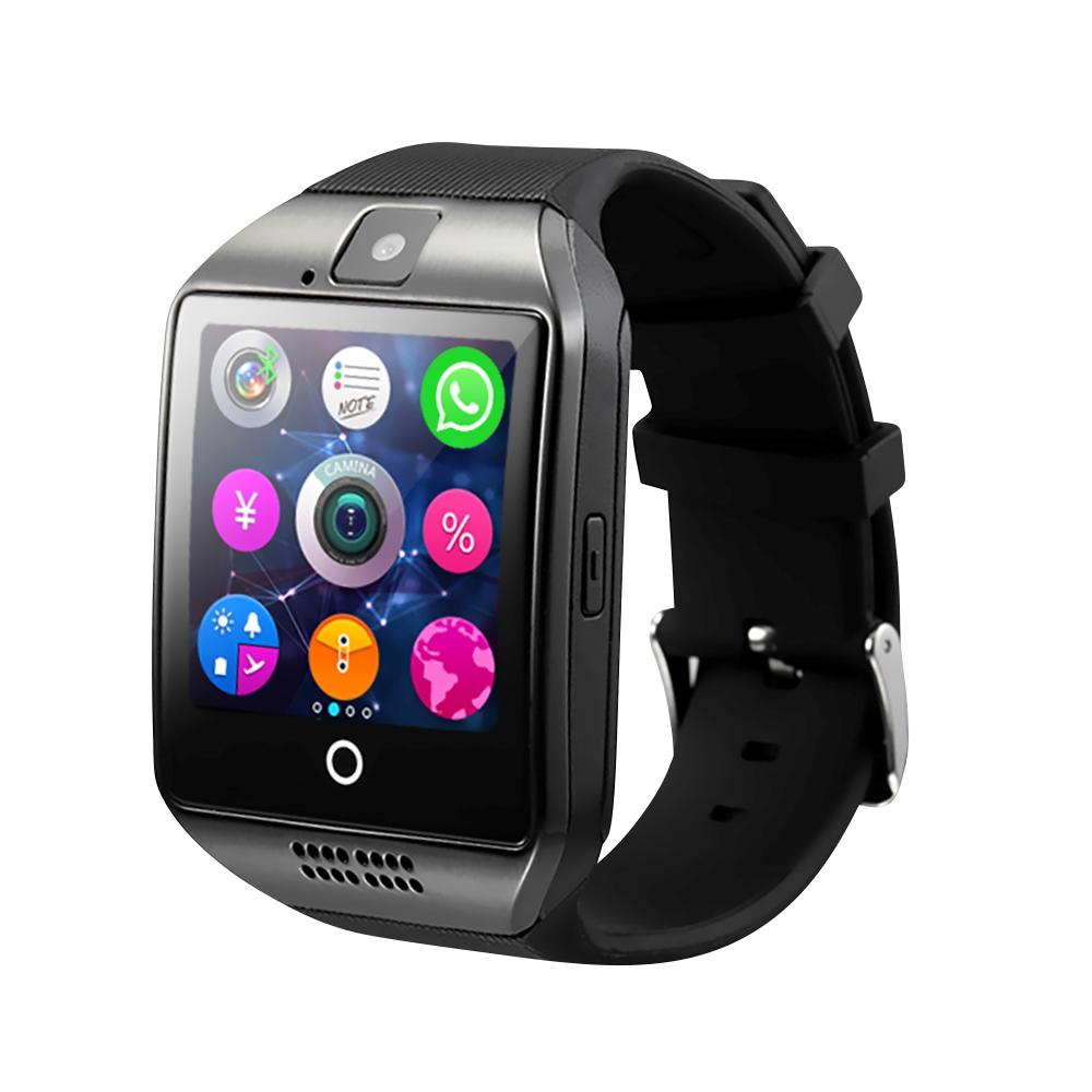 Ceas Smartwatch Q18 cu Functie Apelare, SMS, Camera, Bluetooth, Pedometru, Monitorizare somn, Negru imagine