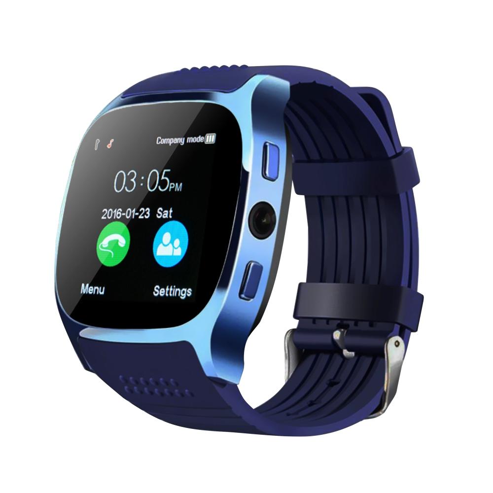 Ceas Smartwatch T8 cu Functie Apelare, SMS, Camera, Bluetooth, Pedometru, Monitorizare somn, Albastru imagine