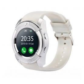 Ceas Smartwatch V8 cu Functie Apelare, SMS, Camera, Bluetooth, Pedometru, Android – Alb