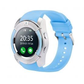 Ceas Smartwatch V8 cu Functie Apelare, SMS, Camera, Bluetooth, Pedometru, Android – Albastru