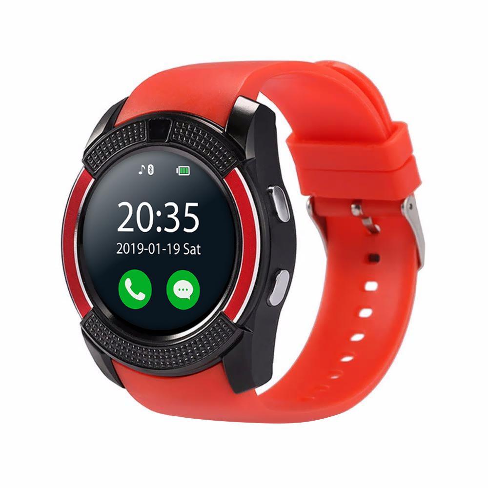 Ceas Smartwatch V8 cu Functie Apelare, SMS, Camera, Bluetooth, Pedometru, Android – Rosu imagine
