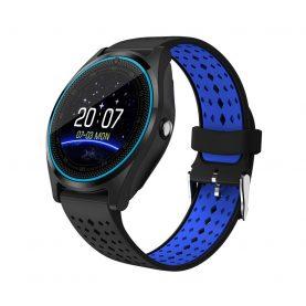 Ceas Smartwatch V9 cu Functie Apelare, SMS, Camera, Bluetooth, Pedometru, Monitorizare somn, Negru – Albastru