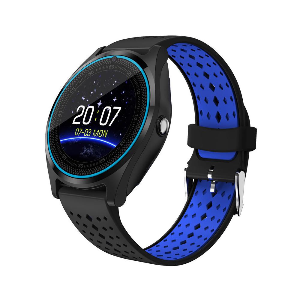 Ceas Smartwatch V9 cu Functie Apelare, SMS, Camera, Bluetooth, Pedometru, Monitorizare somn, Negru – Albastru imagine