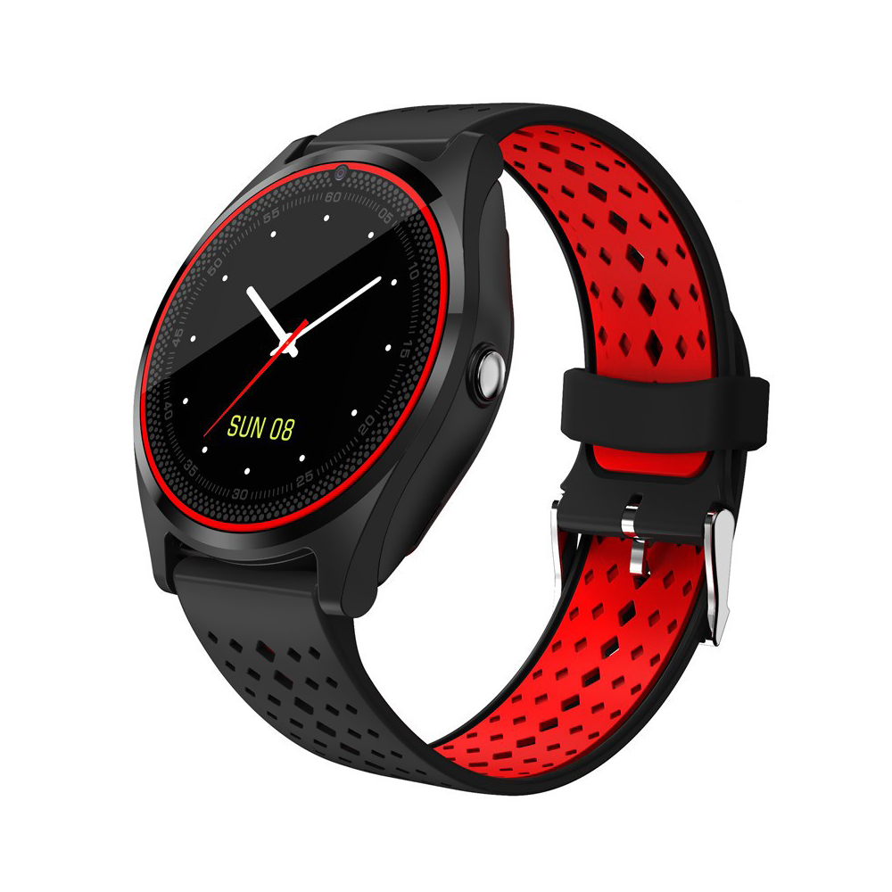 Ceas Smartwatch V9 cu Functie Apelare, SMS, Camera, Bluetooth, Pedometru, Monitorizare somn, Negru – Rosu imagine