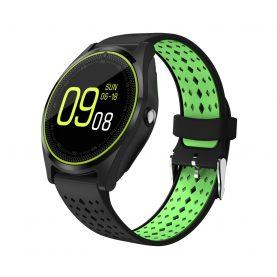 Ceas Smartwatch V9 cu Functie Apelare, SMS, Camera, Bluetooth, Pedometru, Monitorizare somn, Negru – Verde