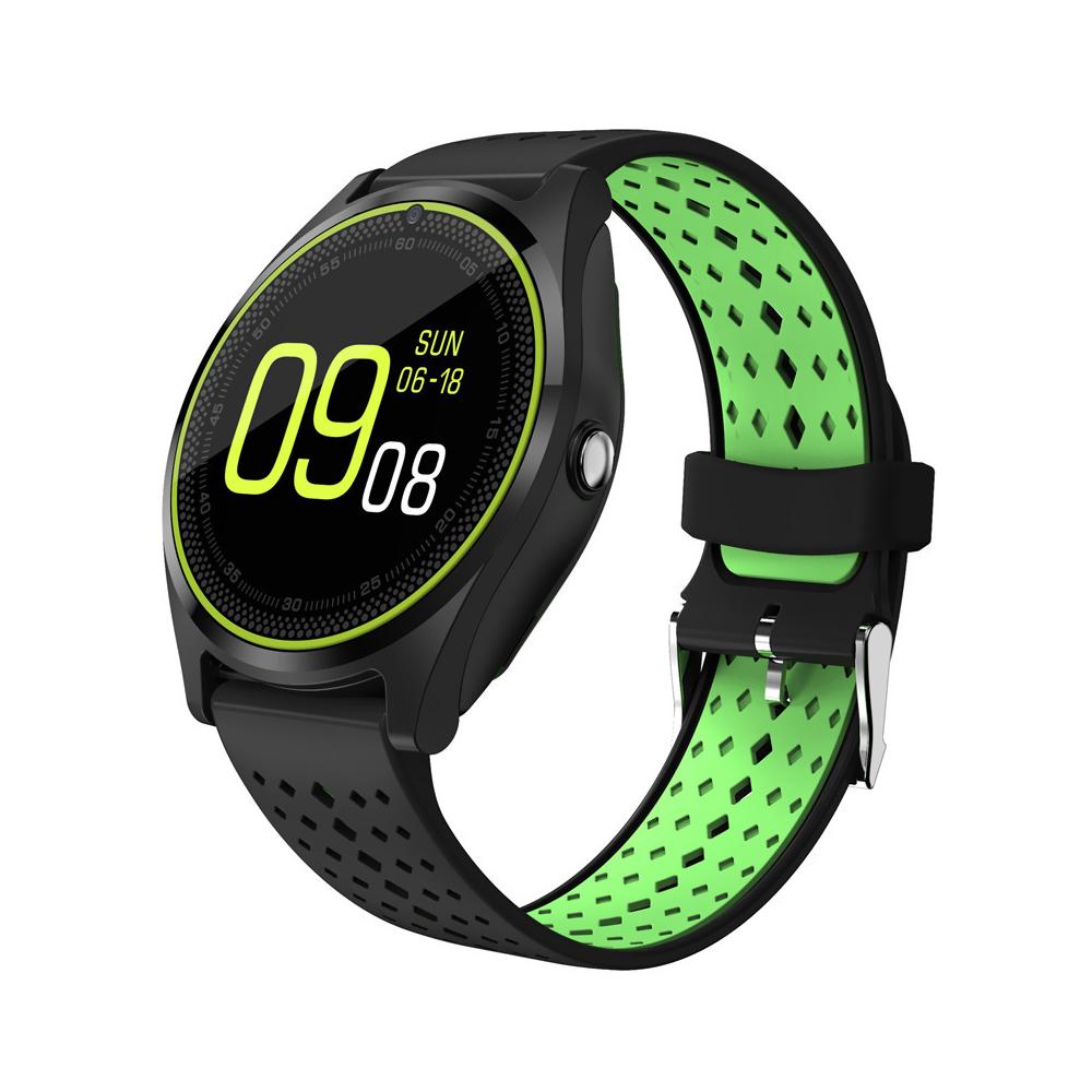 Ceas Smartwatch V9 cu Functie Apelare, SMS, Camera, Bluetooth, Pedometru, Monitorizare somn, Negru – Verde imagine