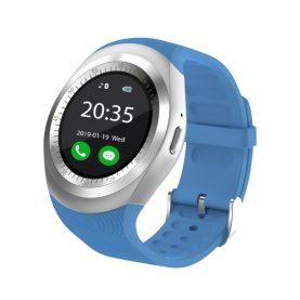 Ceas Smartwatch Y1 cu Functie Apelare, SMS, Bluetooth, Pedometru, Monitorizare somn, Albastru