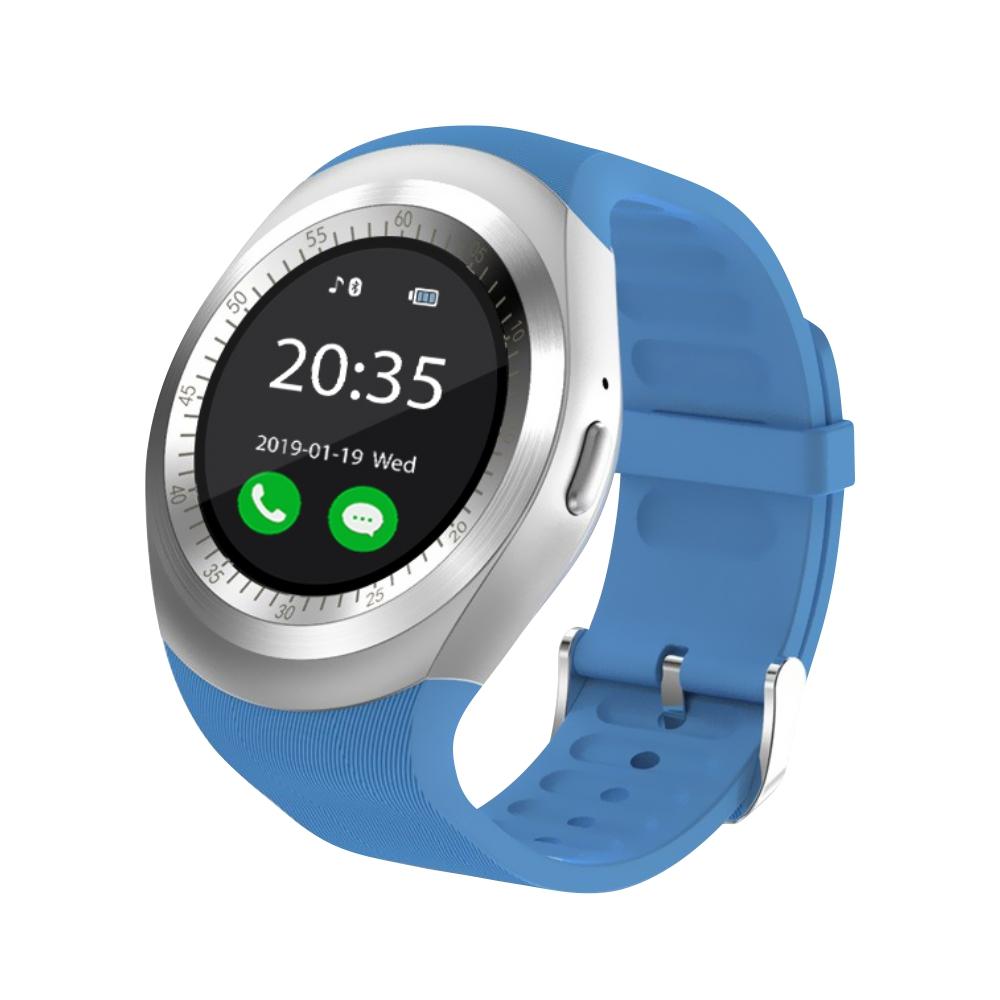Ceas Smartwatch Y1 cu Functie Apelare, SMS, Bluetooth, Pedometru, Monitorizare somn, Albastru imagine