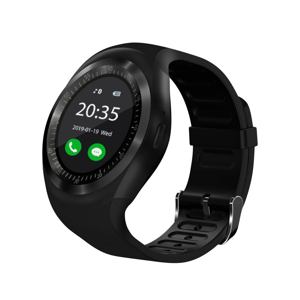 Ceas Smartwatch Y1 cu Functie Apelare, SMS, Bluetooth, Pedometru, Monitorizare somn, Negru imagine