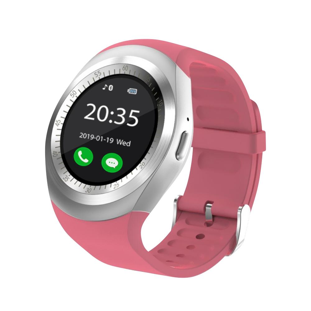 Ceas Smartwatch Y1 cu Functie Apelare, SMS, Bluetooth, Pedometru, Monitorizare somn, Rosu imagine