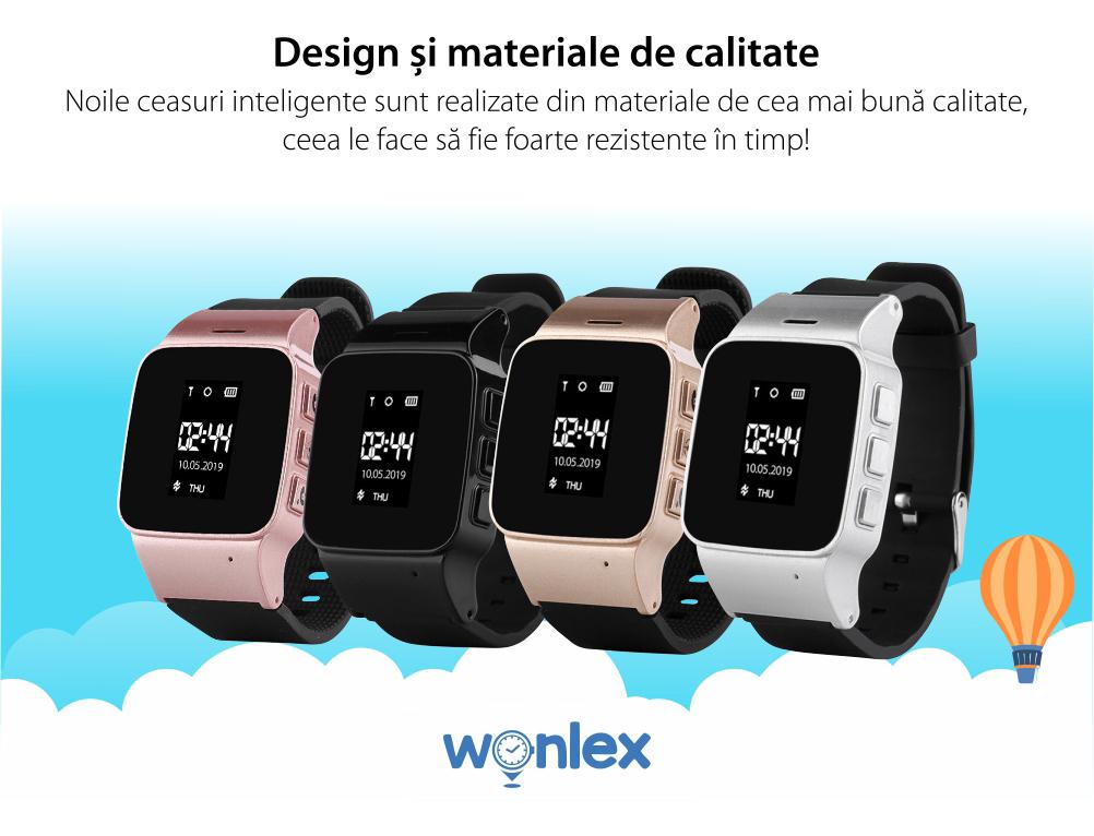 Ceas Smartwatch Pentru Adulti / Varstnici Wonlex EW100 cu Functie Telefon, Localizare GPS, SOS – Argintiu, Cartela SIM Cadou