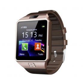 Ceas Smartwatch DZ09 cu Functie Apelare, SMS, Camera, Bluetooth, Pedometru, Android – Auriu