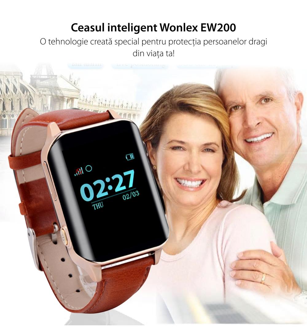 Ceas Smartwatch Pentru Adulti / Varstnici Wonlex EW200 cu Functie Telefon, Senzor puls, Localizare GPS, Pedometru – Maro, Cartela SIM Cadou