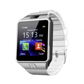 Ceas Smartwatch DZ09 cu Functie Apelare, SMS, Camera, Bluetooth, Pedometru, Android – Alb