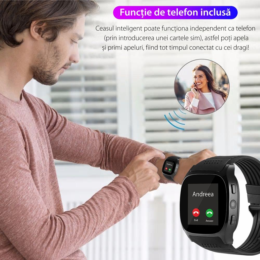 Ceas Smartwatch T8 cu Functie Apelare, SMS, Camera, Bluetooth, Pedometru, Monitorizare somn, Alb