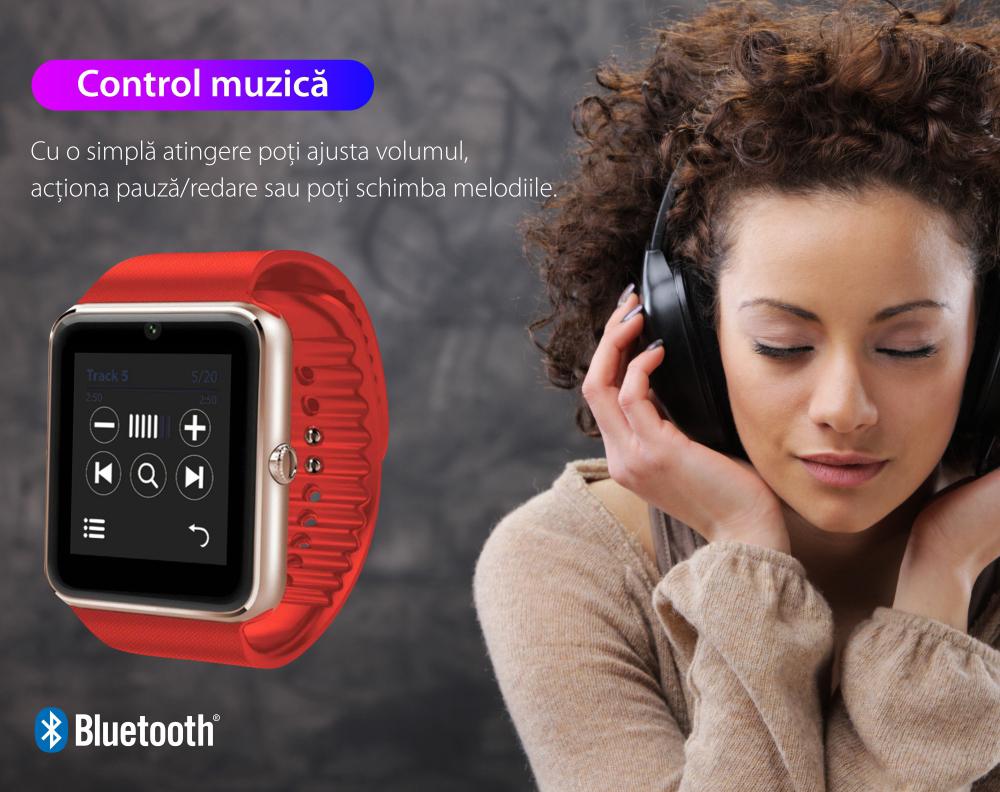 Ceas Smartwatch GT08 cu Functie Apelare, SMS, Camera, Bluetooth, Pedometru, Android, Negru-Argintiu