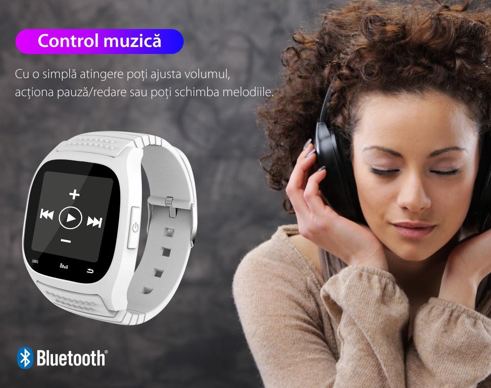 Ceas Smartwatch M26 cu Functie Apelare prin Bluetooth, Pedometru, Notificari, Monitorizare somn – Negru