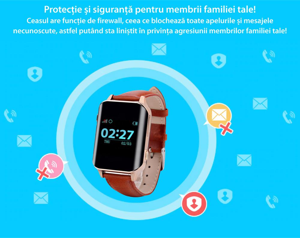 Ceas Smartwatch Pentru Adulti / Varstnici i365-Tech A16 cu Functie Telefon, Senzor puls, Localizare GPS, Pedometru – Maro
