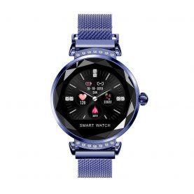 Ceas Smartwatch fitness fashion H2 cu functie de monitorizare ritm cardiac, Notificari, Pedometru, Bluetooth, Metal, Albastru