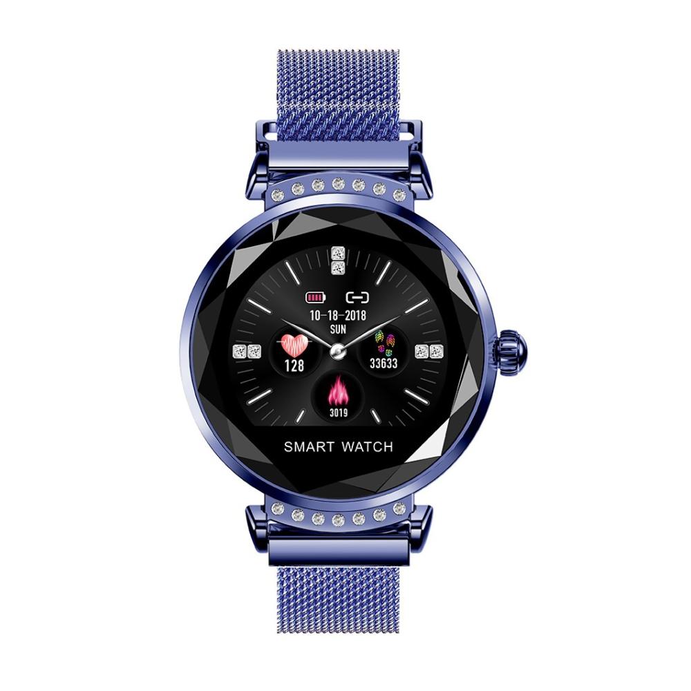 Ceas Smartwatch fitness fashion H2 cu functie de monitorizare ritm cardiac, Notificari, Pedometru, Bluetooth, Metal, Albastru imagine
