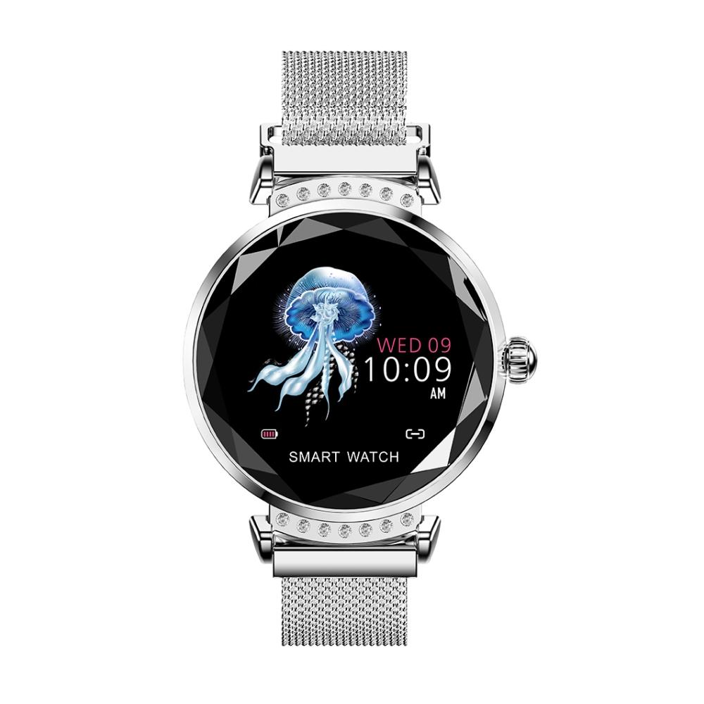 Ceas Smartwatch fitness fashion H2 cu functie de monitorizare ritm cardiac, Notificari, Pedometru, Bluetooth, Metal, Argintiu imagine