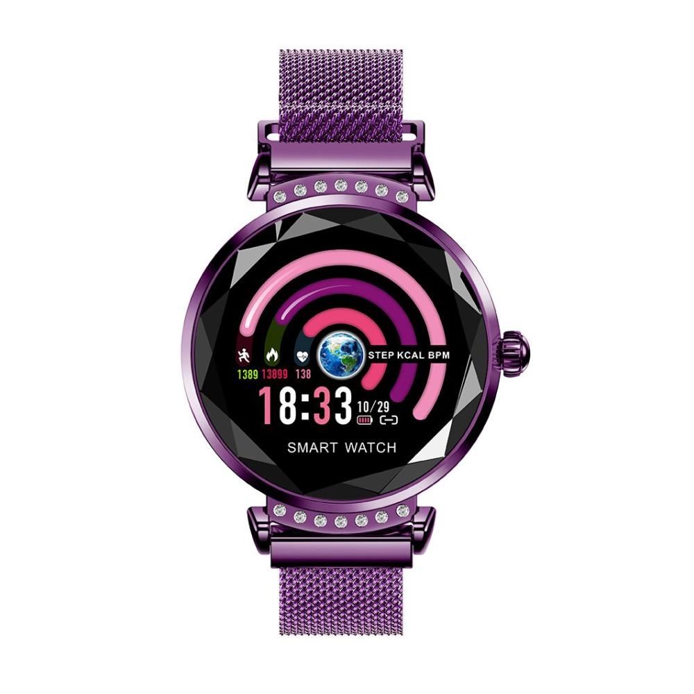 Ceas Smartwatch fitness fashion H2 cu functie de monitorizare ritm cardiac, Notificari, Pedometru, Bluetooth, Metal, Mov imagine